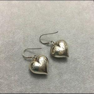 Vintage Sterling Silver Dangle Heart Earrings